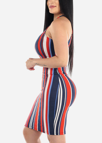 Image of Navy Stripe Bodycon Midi Dress