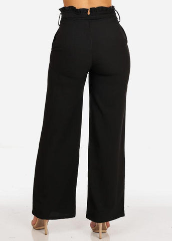 Black Belted High Rise Wide Leg Pants