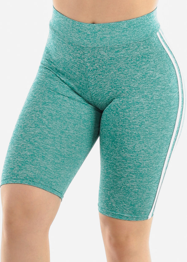 Side Stripes Teal Biker Shorts