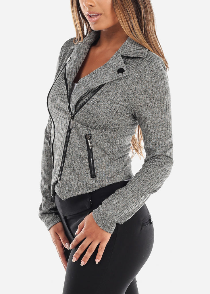 Charcoal Ribbed Moto Jacket