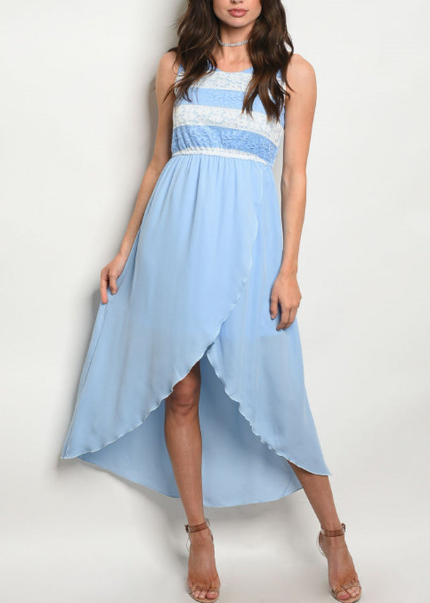 High Low Hem Light Blue Dress