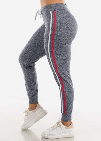 Image of Heather Blue Side Stripe Joggers