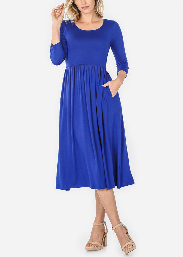 Royal Blue Loose Midi Dress