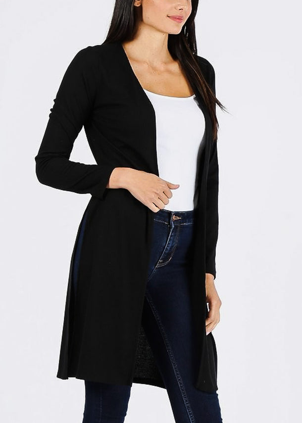 Ribbed Black Maxi Cardigan