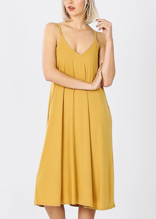 Mustard Cami Knee Length Dress