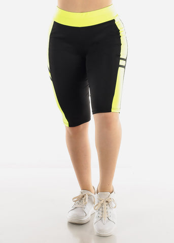 Image of High Waist Black & Neon Biker Shorts