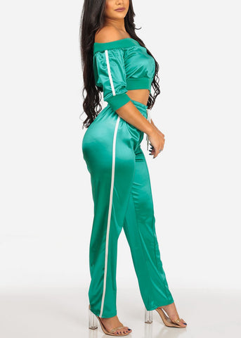 Image of Women's Junior Stylish Going Out Off Shoulder Short Sleeve Silk Green Stripe Sides Crop Top And Drawstringwaist Pants Tracksuit For Women