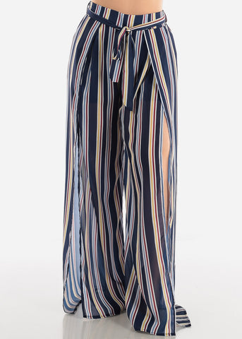 Image of Multicolor Stripe Palazzo Pants W Slits