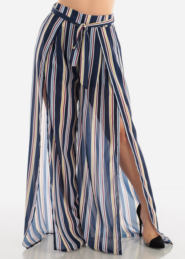 Multicolor Stripe Palazzo Pants W Slits