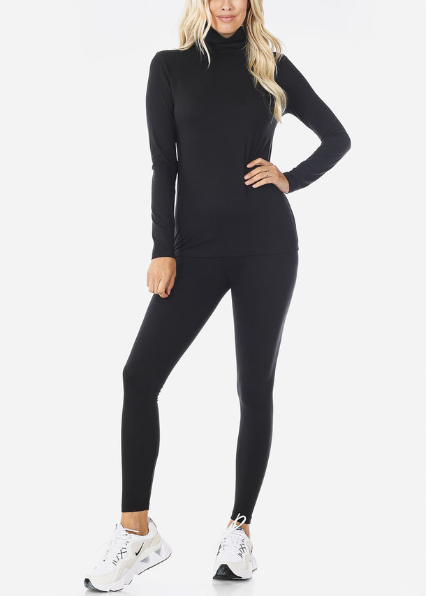 Black Mock Neck Top & Leggings (2 PCE SET)