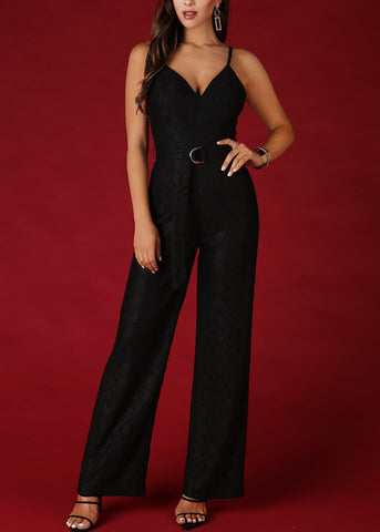 Laced Textured Black Jumpsuit