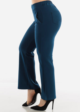 Teal Ankle Length Pants