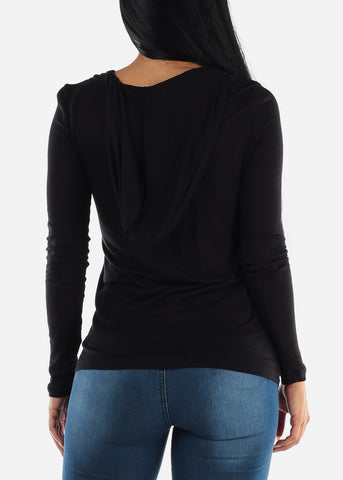 Image of Long Sleeve Black Hooded Top