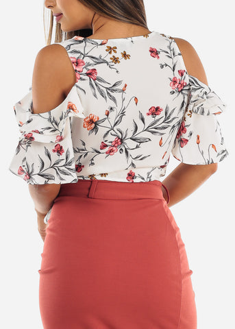 Image of Cold Shoulder White Floral Top