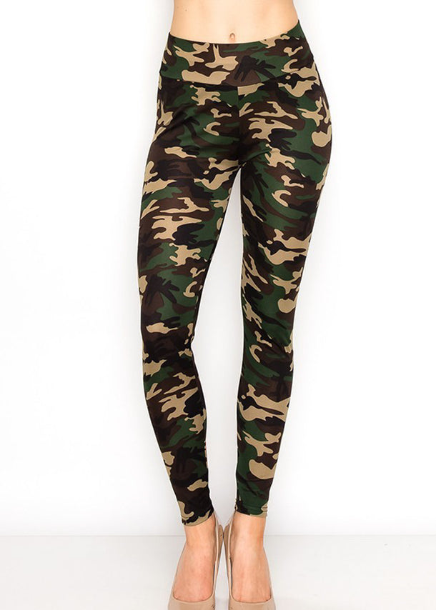 High Rise Camouflage Print Leggings