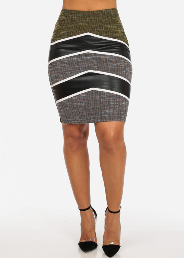 Sexy Stripe Faux Leather Going Out Night Out Stylish Yellow Pencil Midi Skirt