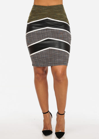 Image of Sexy Stripe Faux Leather Going Out Night Out Stylish Yellow Pencil Midi Skirt