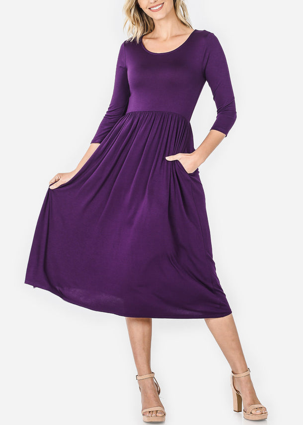 Purple Loose Midi Dress