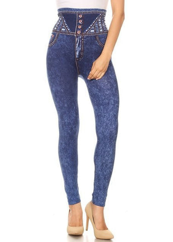 High Rise Dark Wash Faux Jean Leggings