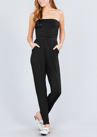 Image of Strapless Black Jumpsuit