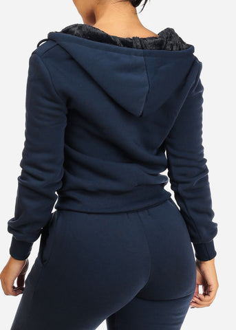 Image of Navy Sweater W Fuzzy Hood