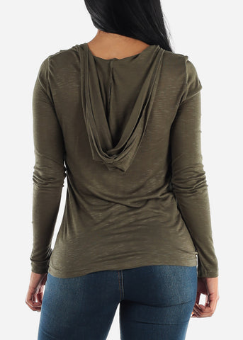 Image of Long Sleeve Olive Hooded Top