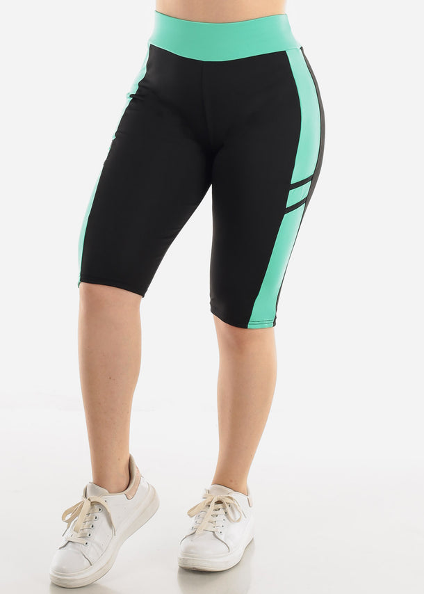 High Waist Black & Green Biker Shorts