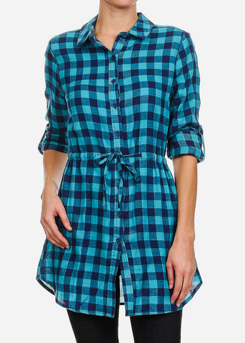 3/4 Sleeve Plaid Teal Dress
