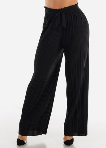 Black Pleated Wide Legged Pants