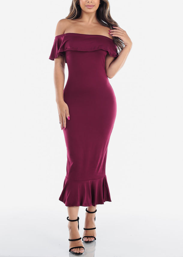Strapless Ruffled Burgundy Maxi Dress