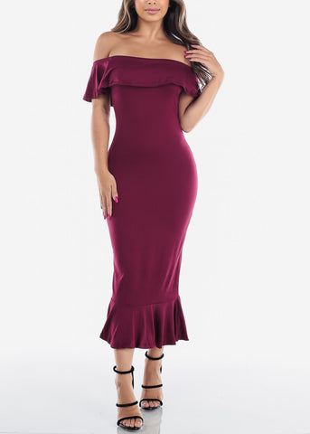 Image of Sexy Tight Fit Strapless Bodycon Mermaid Burgundy Dress For Women Ladies Junior