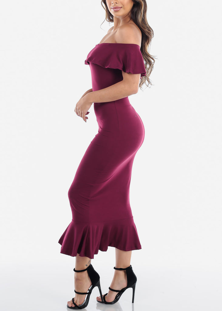 Sexy Tight Fit Strapless Bodycon Mermaid Burgundy Dress For Women Ladies Junior