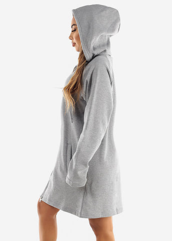 Image of Fleece Zip Up Grey Hoodie Dress
