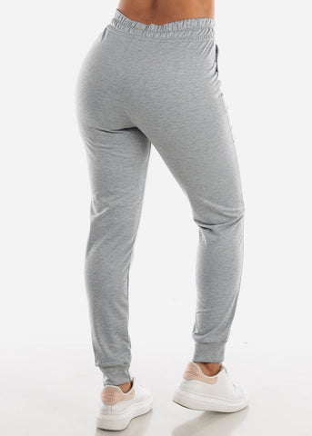 Drawstring Waist Light Grey Jogger Pants
