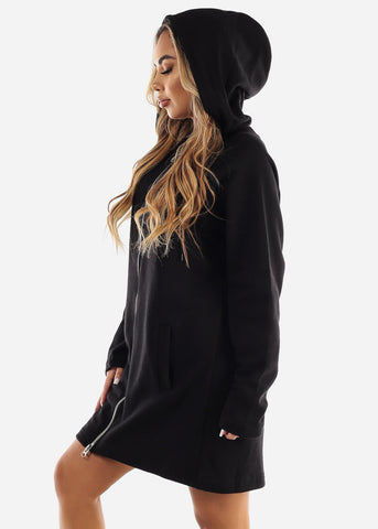 Fleece Zip Up Black Hoodie Dress