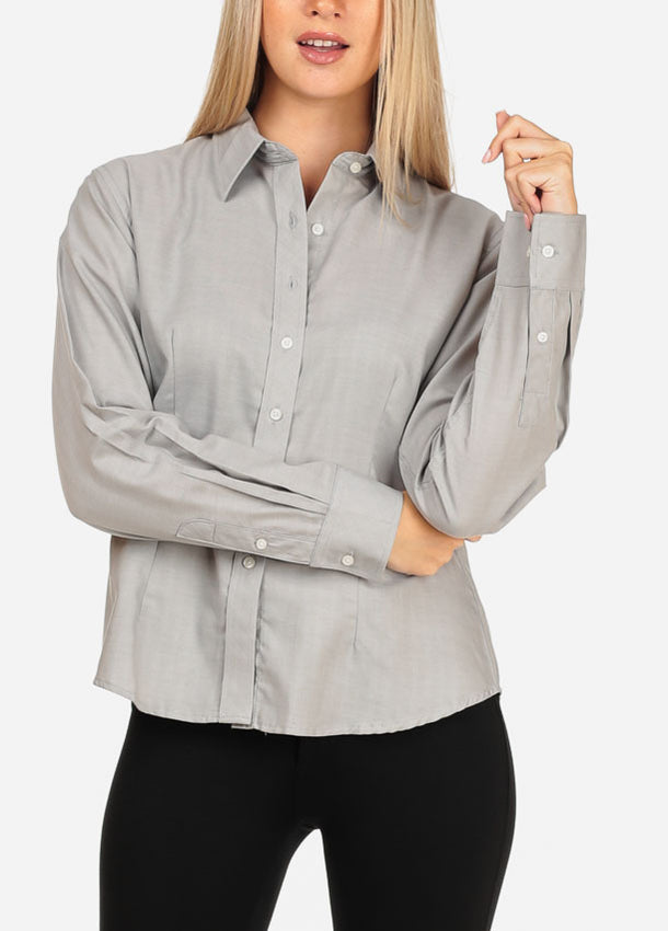 8121620b1 Women's Junior Lady Casual Formal Professional Business Career Wear Long  Sleeve Grey Shirt Blouse Button Up ...