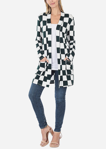 Green Checkered Cardigan