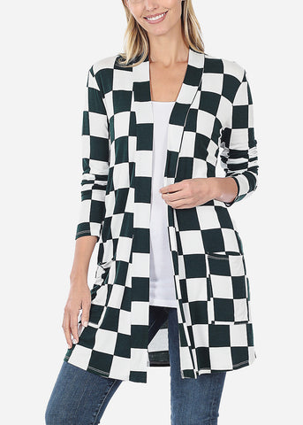 Image of Green Checkered Cardigan
