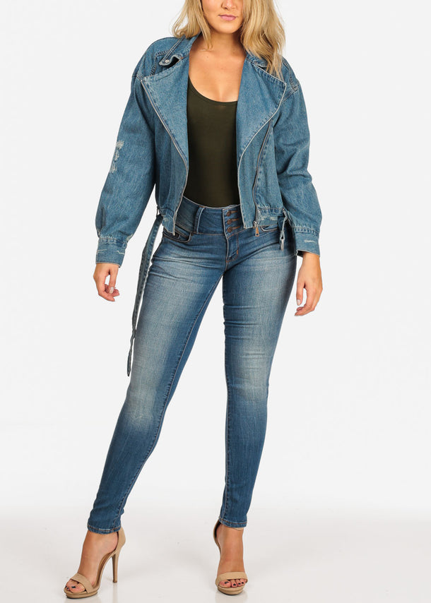 Blue Denim Moto Jacket