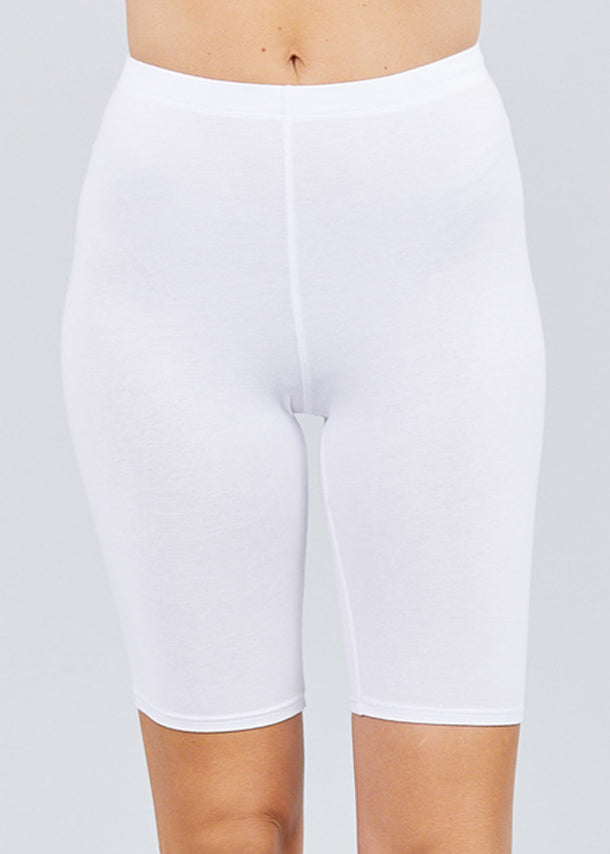 Basic White Cotton Biker Shorts