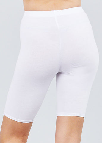 Basic White Biker Shorts