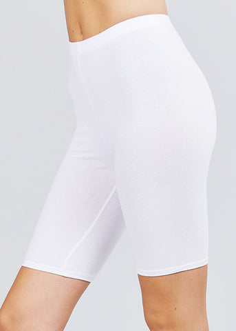 Image of Basic White Biker Shorts