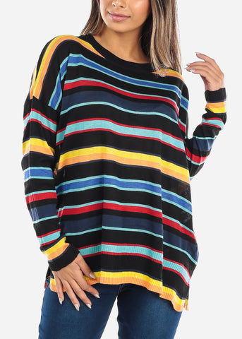 Image of Black Multi Color Striped Sweater