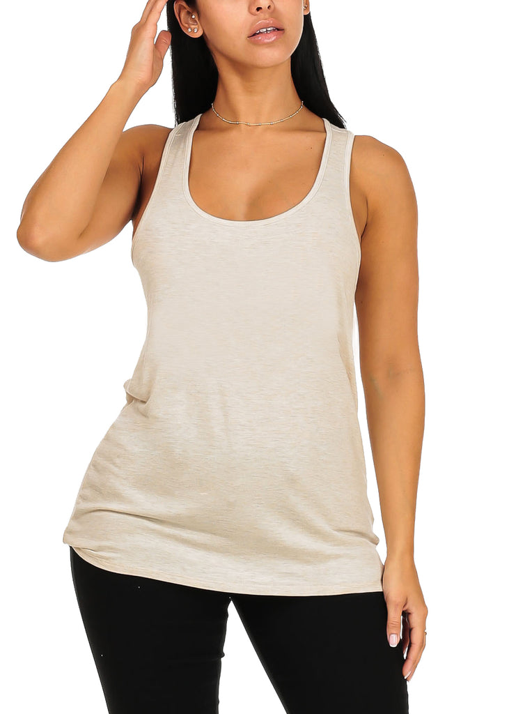 Sleeveless Super Stretchy Loose Fit Casual Daily Wear Oat Cream Top Tee Camisole For Women Ladies Junior On Sale