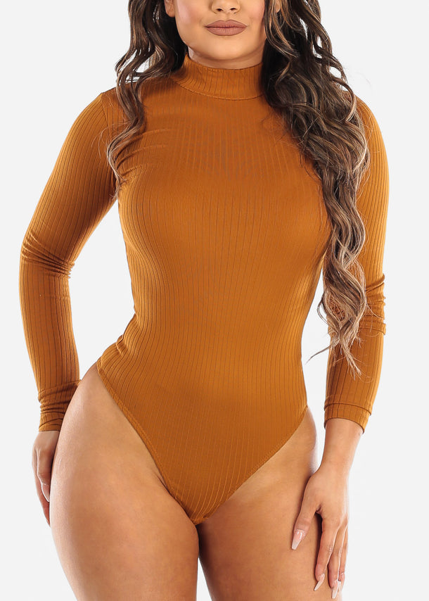 Mustard Mock Neck Long Sleeve Bodysuit