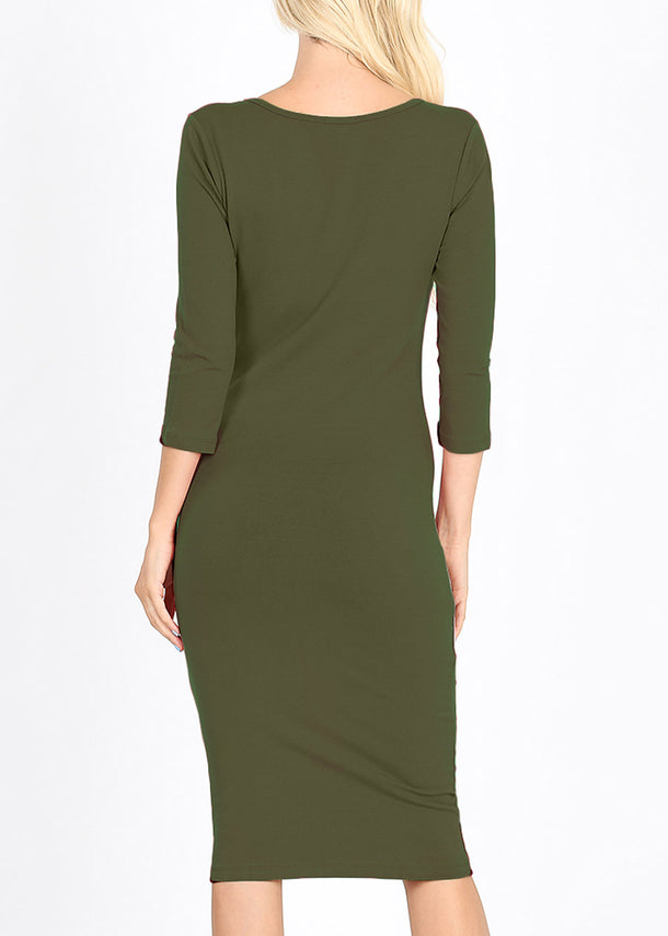 Quarter Sleeve Olive Bodycon Dress