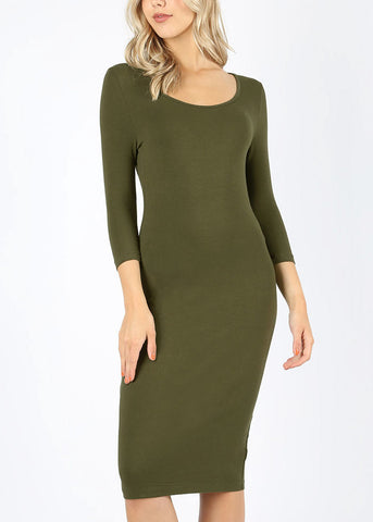 Image of Quarter Sleeve Olive Bodycon Dress 4316POLV