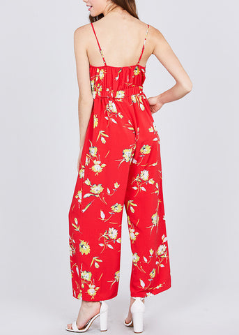 Floral Print Red Chiffon Jumpsuit
