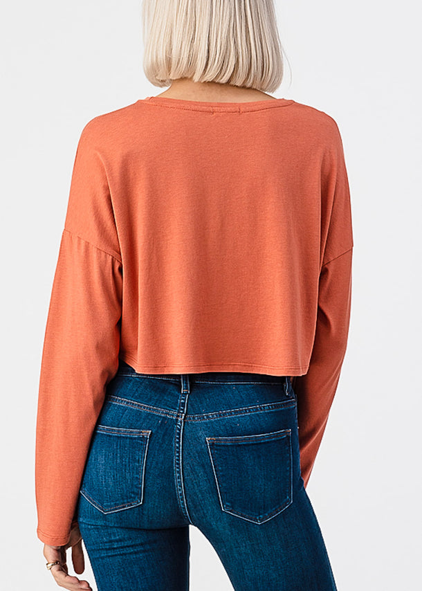Long Sleeve Orange Boxy Crop Top