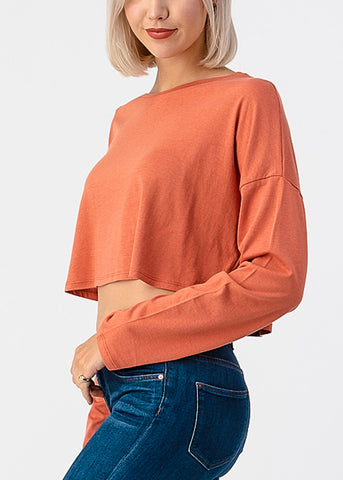Image of Long Sleeve Orange Boxy Crop Top